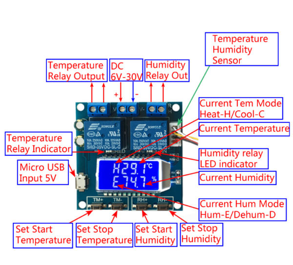 XY-TR01 Temperature and Humidity Controller High Precision Digital Display